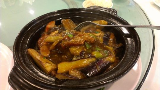 Eggplant and cod hot pot