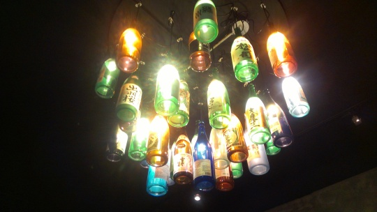 Suika bottle chandelier